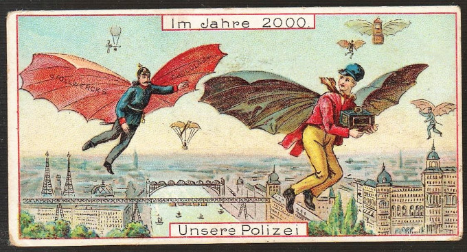 What human flight will look like in the year 2000, as imagined in 1900,Germany