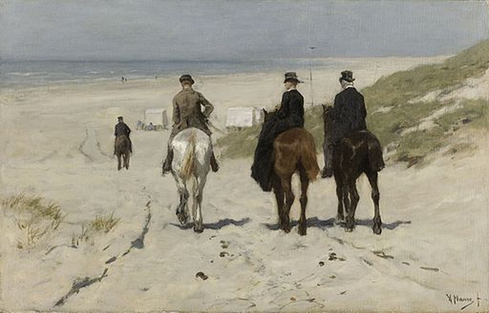 """""""Morning Ride on the Beach"""" by Dutch painter Anton Mauve,1876"""