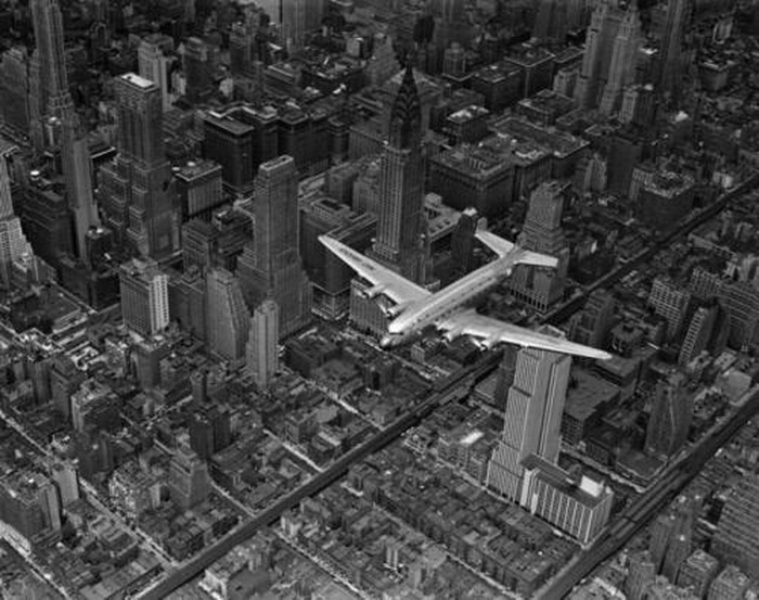 Flying over NYC,1940s