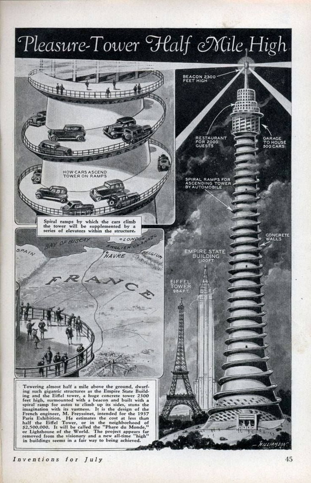 Proposed tower for the Paris World Fair,1937