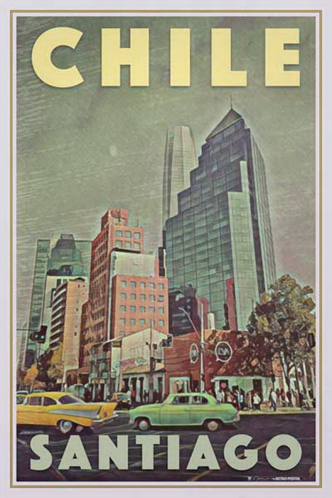 Retro style poster for Santiago,Chile