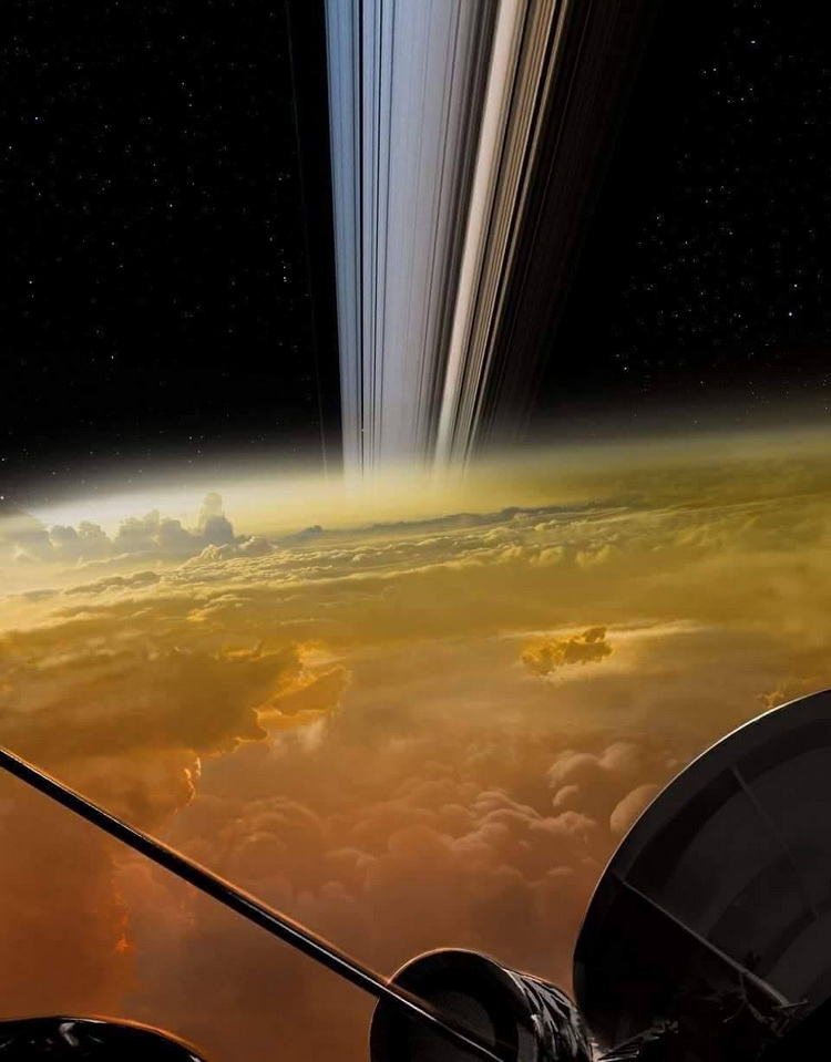 Photo taken from inside of Saturn's rings by an orbiter on approach to crash landing on theplanet
