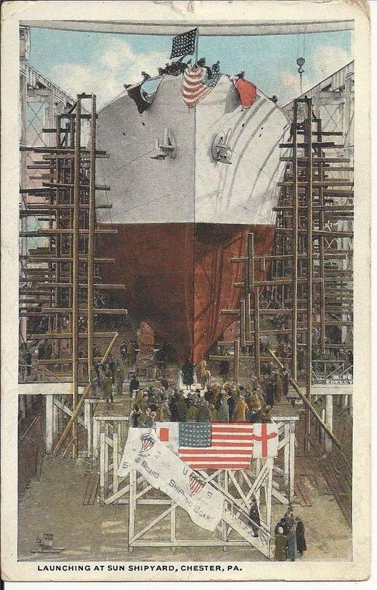 Launching a ship, Pennsylvania,1910s
