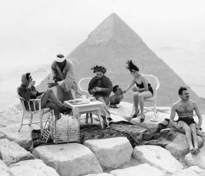 Having a tea party on top of a pyramid, Egypt,1938
