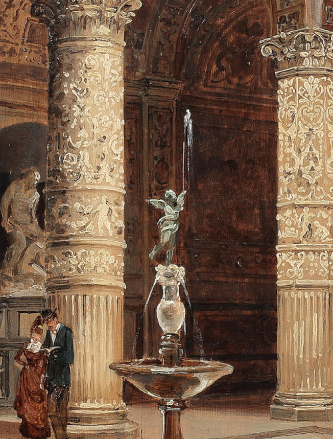 """Detail from """"The Courtyard of the Palazzo Vecchio"""" by AntoniettaBrandeis"""