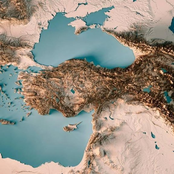 Topographical map of Turkey and surroundingregions