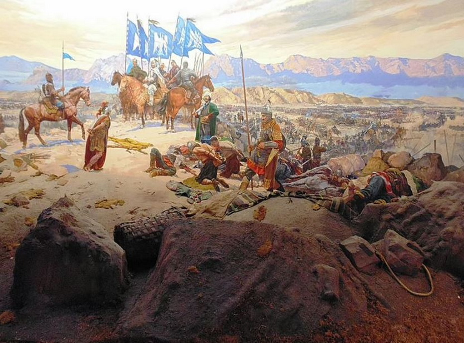 The Battle of Manzikert in ancient Armenia, a major Turkish victory over the Byzantine Empire,1071
