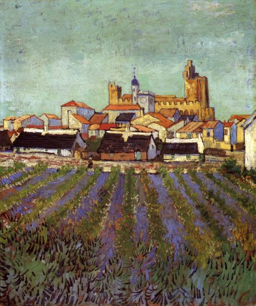 """View of Saintes-Maries"" by Vincent Van Gogh,1888"