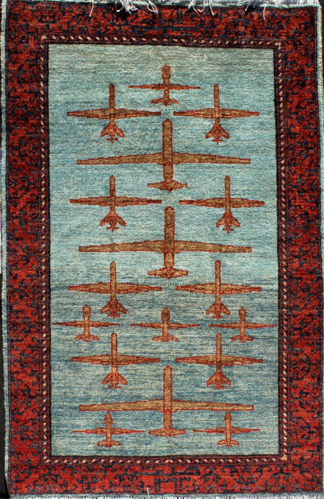 Warplanes and drones on an Afghanrug