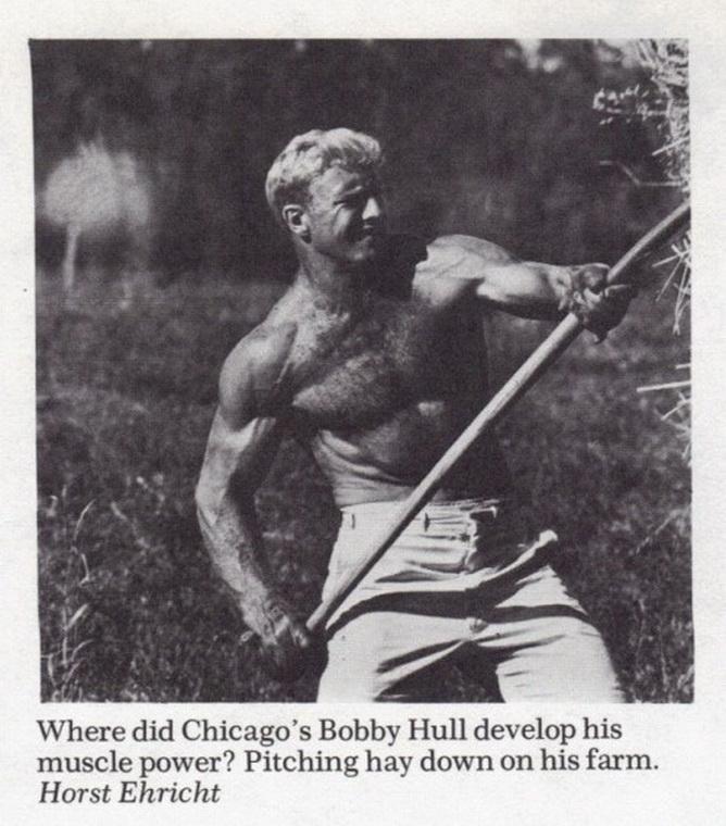 Hockey great Bobby Hull, down on thefarm