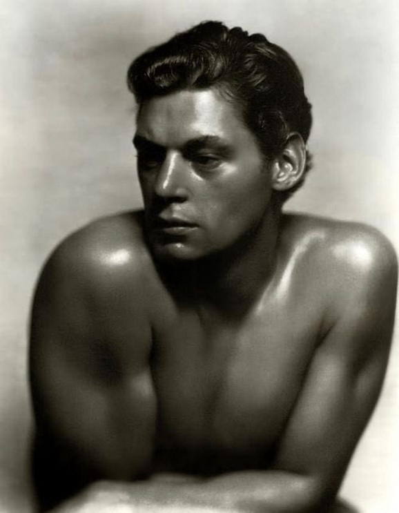 """Johnny Weissmuller, Olympic swimmer and actor who played the original """"Tarzan"""", photo by George Hurrell,1932"""