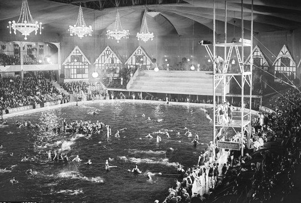 Madison Square Garden, NYC, transformed into an indoor swimming pool,1921