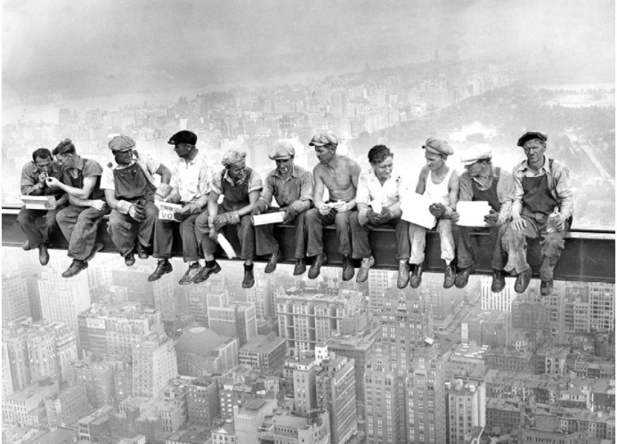 Construction workers taking a break while building Rockefeller Center, NYC,1930s