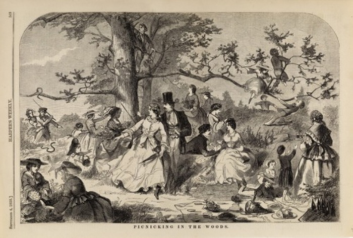 Picnicking in the forest,1800s