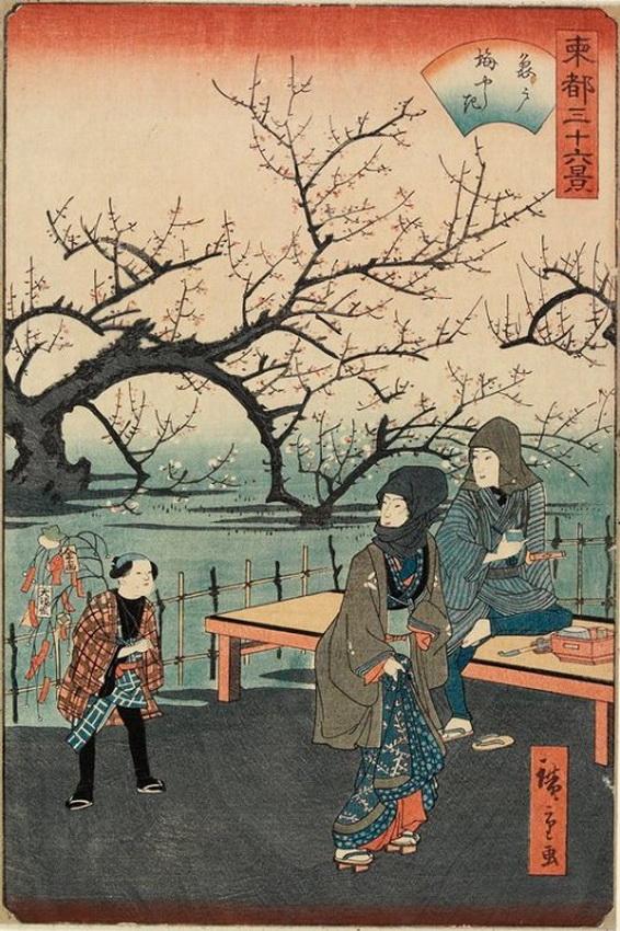 """Plum Garden at Kameido"" by Utagawa Hiroshige II, Japan,1862"