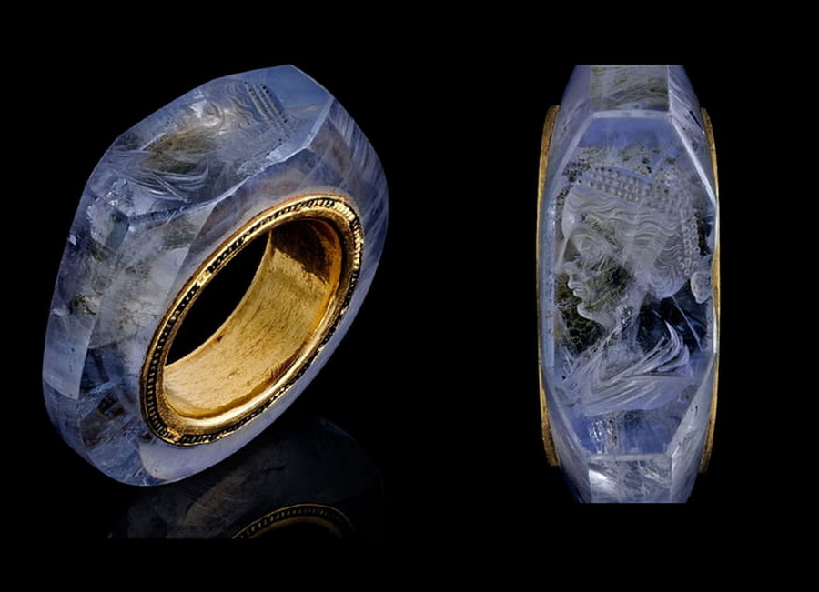 A gold and amethyst ring owned by an ancient Roman emperor, with his wife's image etched intoit