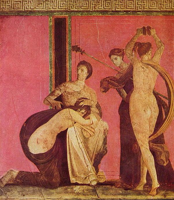 Ancient fresco from Villa di Misteri,Pompeii