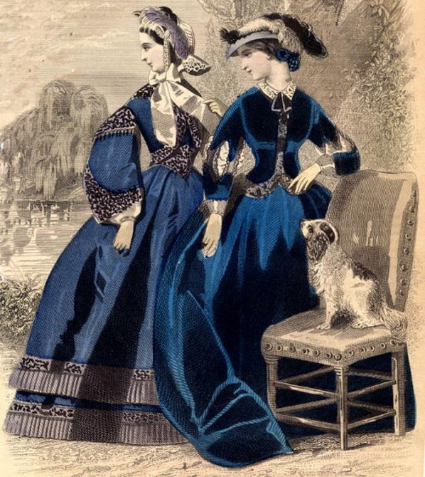 Indigo dresses, 1860s
