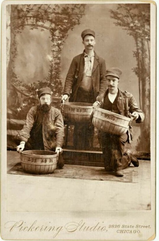Three men with baskets, Chicago,1800s