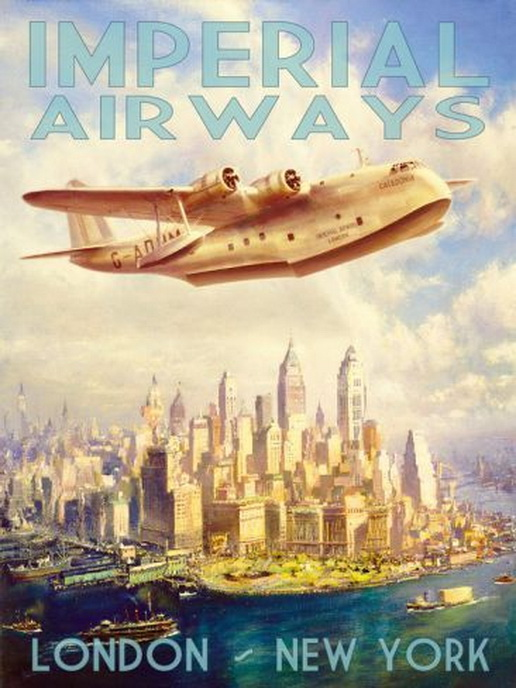 London-NYC on Imperial Airways,1930s