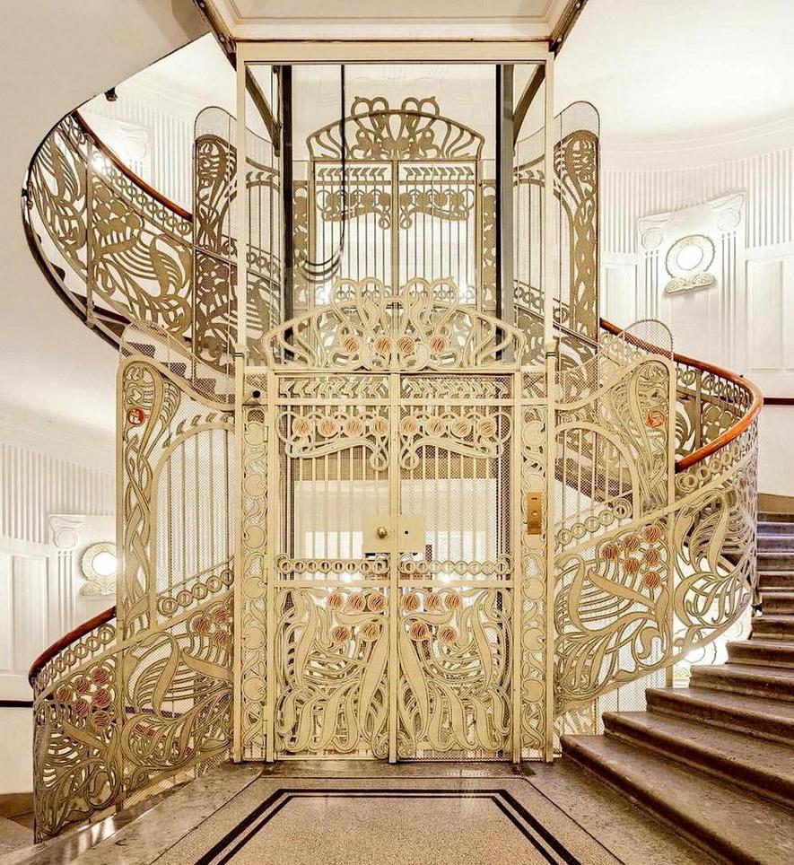 Art Nouveau elevator and stairwell railing,Vienna