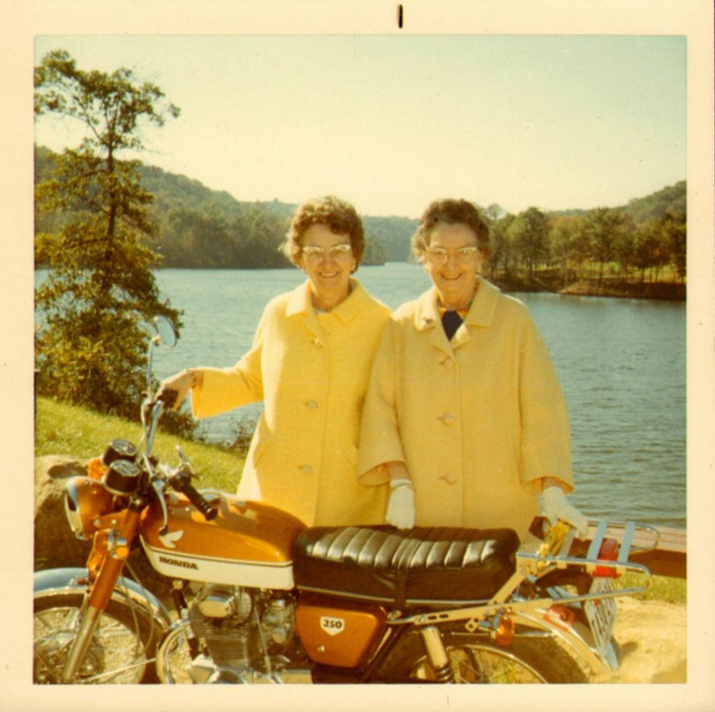 Sunday motorcycle ladies,1950s