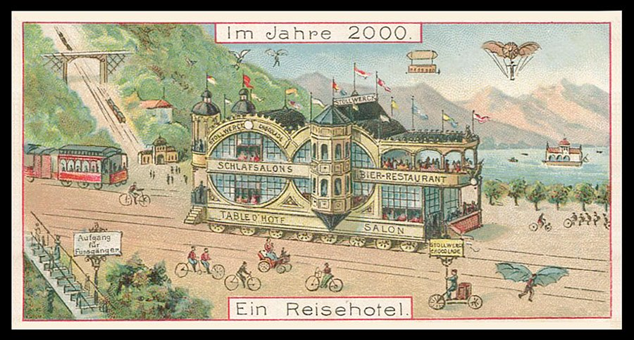 Transportation in the year 2000 as envisioned in 1900 (with a double decker restaurant on tracks),Germany