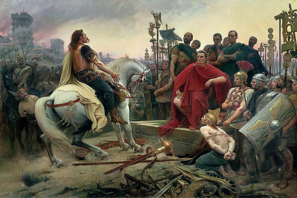 Leader of the Gauls (France), Vercingetorix, surrendering to Julius Caesar of the RomanEmpire