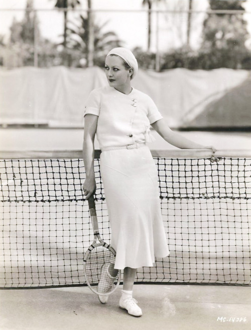 Young Joan Crawford at the tenniscourt