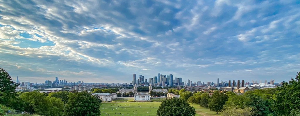 Skyline of London as seen from Greenwich Park,2021