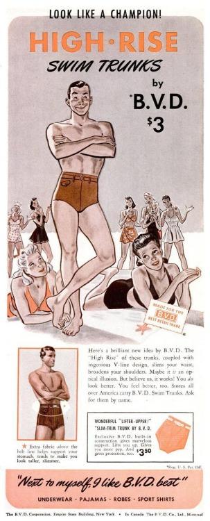 BVD High Rise Swim Trunks – Look like a champion!(1940s)